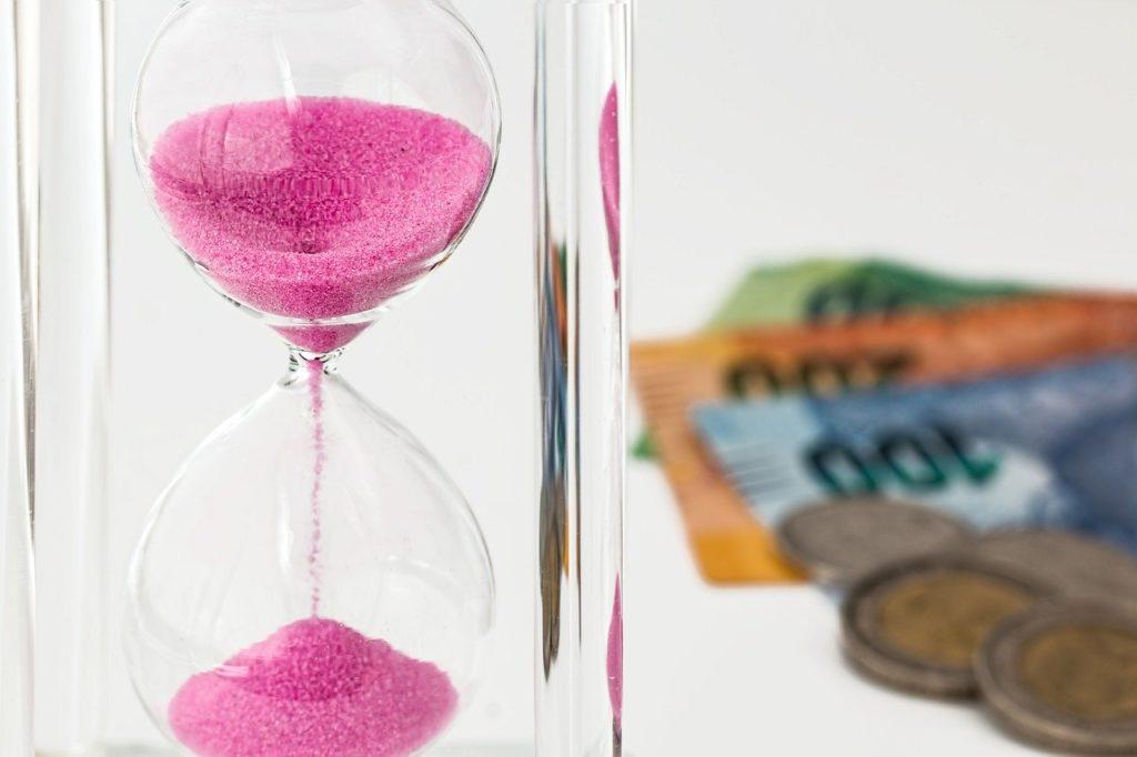 hourglass, money, time